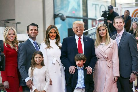 Donald Trump poses with his family.