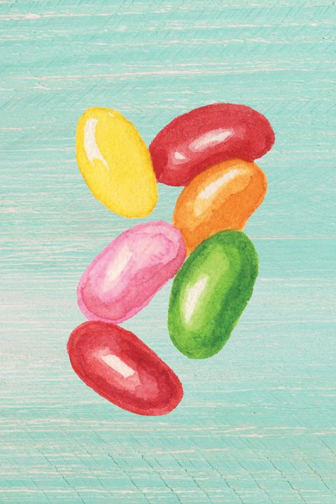 Jelly bean, Sweetness, Confectionery, Candy, Food, Jelly babies, Watercolor paint, Vegetarian food, Colorfulness, Wine gum,