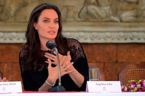 Angelina Jolie giving speech