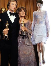 In the dog days of disco, Jane Fonda—winning Best Actress for Coming Home—sported the era's hallmarks: sparkles, sheer fabric, and soft waves that would have made Farrah proud. Reinterpret Fonda's quintessentially seventies style with a lavender Giorgio Armani look.(Giorgio Armani dress, $27,845, skirt, $1,895, and top, $4,975, 212-988-9191)