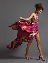 Clearly, with a dress like this, wild times await. Salvatore Ferragamo silk print dress ($4,480) and shoes ($595).