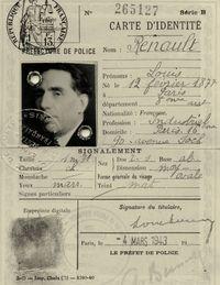 The carte d'identité of Louis Renault.
