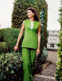 Louis Renault's granddaughter in an Akris silk shantung sleeveless tunic ($1,580) and wide-leg pants ($1,460).