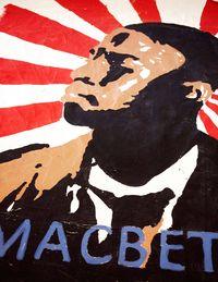 A billboard for a campus production of <em>Macbeth</em>.