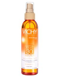 The Screen: Vichy Capital Soleil SPF 30 Luxurious Protective Oil ($28.50), vichyusa.comThe Benefits: Spray oil SPFs rarely go above 8. This impressive formula clocks in at 30 and contains white grapeseed oil and vitamin E.The Glamour: A return to form for oil lovers who have long since retired their aluminum foil reflectors.