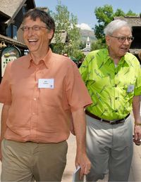 Media moguls, business titans, tech entrepreneurs, and government bigwigs once again descended on the small town of Sun Valley, Idaho, for the annual Allen & Company Conference, now in its 30th year. This summer's convergence of notable attendees included Warren Buffett, Bill Gates, Jeff Bezos, and Jerry Yang, as well as the Murdoch clan: Rupert, Wendi, Lachlan, and James. The program focused on international affairs, with a panel on Iran and Israel featuring the Washington Post's David Ignatius&#x3B; Tom Brokaw moderating a discussion on China&#x3B; and Charlie Rose interviewing Italian prime minister Mario Monti. There was also plenty of election-year politics in the mix, and the buzz coming out of the conference was that President Obama could be losing ground with this particular tax bracket.Microsoft's Bill Gates walks with Berkshire Hathaway's Warren Buffett.
