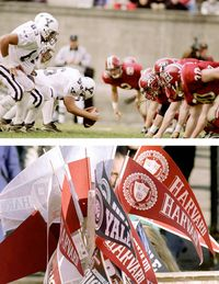 Every year ranks of blue- or crimson-clad students, faculty, and alumni celebrate a rivalry that dates back to 1875. At the game itself, knit scarves from J. Press worn with Brooks Brothers navy blazers and khakis still fill the stands, though there are more Converse sneakers these days than penny loafers.