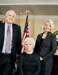 The matriarch, at her 100th birthday party, with her son Senator John McCain III and his wife Cindy Hensley McCain.