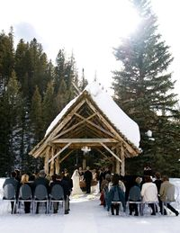 This bare-bones spa resort, a former ghost town near Telluride, is a great venue for a rustic gathering.THE CEREMONY: Up to 60 guests can be seated on the outdoor benches and chairs. Pendleton blankets are supplied if the weather gets chilly.THE RECEPTION: Typically held in town at the hotel-owned Saloon and Dance Hall.THE ACCOMMODATIONS: Stay at the Well House, the only cabin with a private hot springs soaking tub.THE FINE PRINT: Dunton Hot Springs has no vendor restrictions. Brides have booked two years in advance for a buyout, which allows 44 guests to stay overnight.THE PERKS: Colorado lets just about anyone marry you with the right license.THE DOWNTIME: A restorative dip in the springs, of course.FUN FACT: During summer, some bridal parties pick flowers in the meadows instead of hiring a florist.Pictured: A couple get married in a snow-covered chapel in Colorado's San Juan Mountains.duntonhotsprings.com
