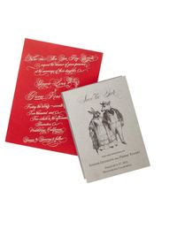 Calligraphy script on scarlet paper pleased both the wedding couple and their traditional Southern parents. Hand-drawn animals lent save-the-date cards a playful theatricality.alexapulitzer.com
