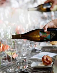 Oakville Ranch's chardonnay is poured at the vintner dinner on Friday night.