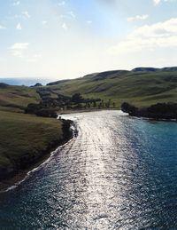 A sunlit bay off Great Mercury Island.