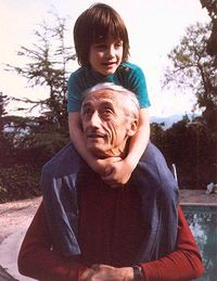 Fabien, age three, with Jacques-Yves in 1970.