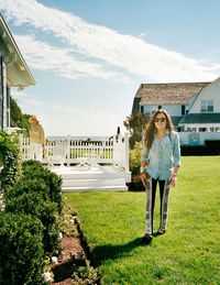 Kick at the Cape Cod compound, with her grandmother Ethel in the background.J.Crew shirt ($78)&#x3B; Balmain pants ($6,000)&#x3B; Minnetonka shoes ($46)&#x3B; Dean Harris earrings ($695)&#x3B; Emilie Jean Tribal Jewelry cuff ($900) and bracelet ($290)&#x3B; Rolex watch ($5,800)&#x3B; Moscot sunglasses ($255).