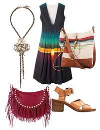 Clockwise from below: Valentino bag ($2,995)&#x3B; Chanel necklace ($1,190)&#x3B; Ports 1961 dress ($1,650)&#x3B; Ralph Lauren Collection bag ($995)&#x3B; Michael Kors sandals ($725)