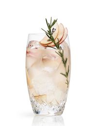 In the heart of apple picking season, this cocktail sounds just right. It's the Apple Rickey from the Surrey Hotel on Manhattan's Upper East Side: 2 oz. Cointreau  1 oz. Fresh Lime Juice  3 slices of a tart Apple  7 leaves of fresh rosemary  3-4 oz. Club Soda or SeltzerMuddle the apple and rosemary in the bottom of a glass. Build cocktail with remaining ingredients and ice.  Stir briefly.  Garnish with a fan of sliced apple on a pick.