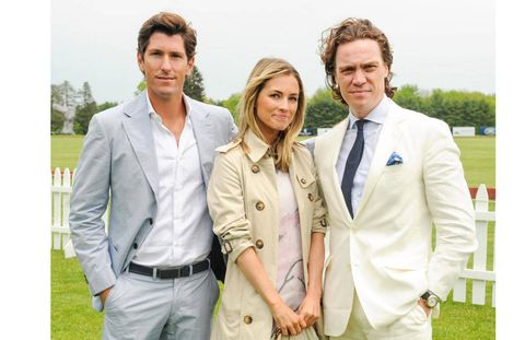 Nic Roldan wearing Ports 1961, T&C Editor Amanda Hearst and T&C Editor in Chief Jay Fielden wearing Brooks Brothers.