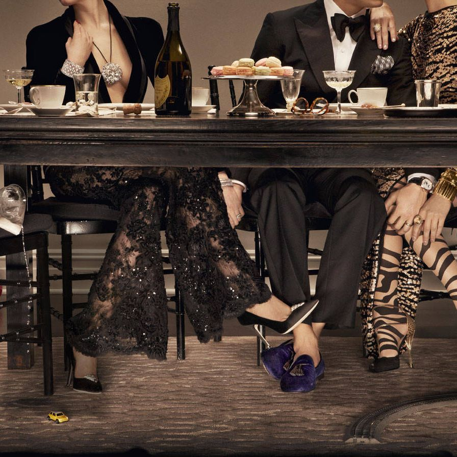 The table had long been cleared, but drinks and desserts lingered a bit longer than they should, as did certain pairs of hands.From left: Zuhair Murad Haute Couture blazer and lace trousers (price on request)&#x3B; Manolo Blahnik shoes ($595)&#x3B; Stephen Russell diamond clips (on shoes, price on request)&#x3B; Chanel Fine Jewelry diamond brooch (worn as necklace, $277,000) and watch ($308,200)&#x3B; Harry Winston Mrs. Winston 62-carat diamond bracelet set in platinum, (price on request)&#x3B; De Beers ring (price on request).The Middle Man: Trying to please everyone was his greatest weakness. Tom Ford tuxedo ($4,940), shoes (1,390), pocket square ($145), and bow tie ($190)&#x3B; Prada shirt ($510)&#x3B; Parmigiani Fleurier Toric oval watch with telescopic hands in rose gold ($95,000).Wild Card: Her choice in hosiery shocked no one. DSquared2 dress ($8,485)&#x3B; Gucci shoes ($1,350)&#x3B; Wolford hosiery ($65)&#x3B; David Yurman starburst ring ($7,800) and yellow citrine cocktail ring ($8,900)&#x3B; David Webb 18K hammered gold cuffs (from $32,500).