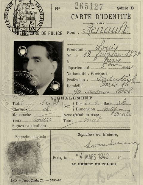 The carte d'identité of Louis Renault.