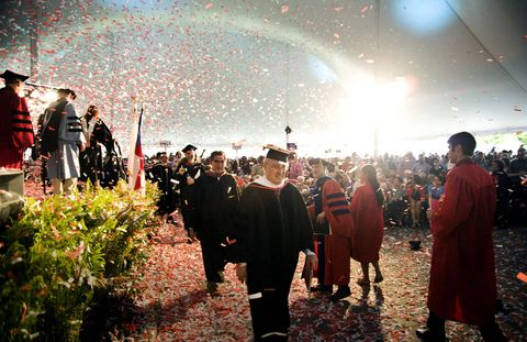 Confetti showers Bard faculty at the college's 151st commencement ceremony in May.