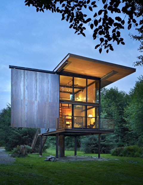 Kundig's Sol Duc Cabin, a fishing retreat in Washington state, rests on stilts.