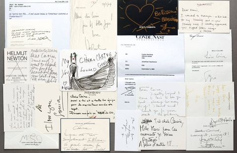 "A collection of treasured notes from such fashion industry friends as Helmut Newton, Miuccia Prada, Giorgio Armani, and Donatella Versace, who wrote, ""Happy, happy birthday to the coolest and sexiest woman I know!"""