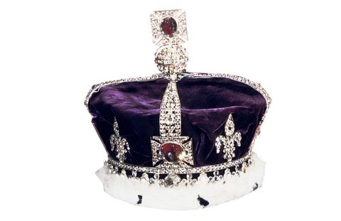 The 105-carat Koh I Noor diamond, thought to have belonged to Babur, the first Mughal emperor, sits at the center of the Queen Mother's crown on display in the Tower of London.
