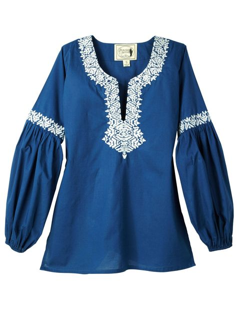 Lisa Fine and partner Carolina Irving design embroidered cotton tunics ($180), irvingandfine.com.