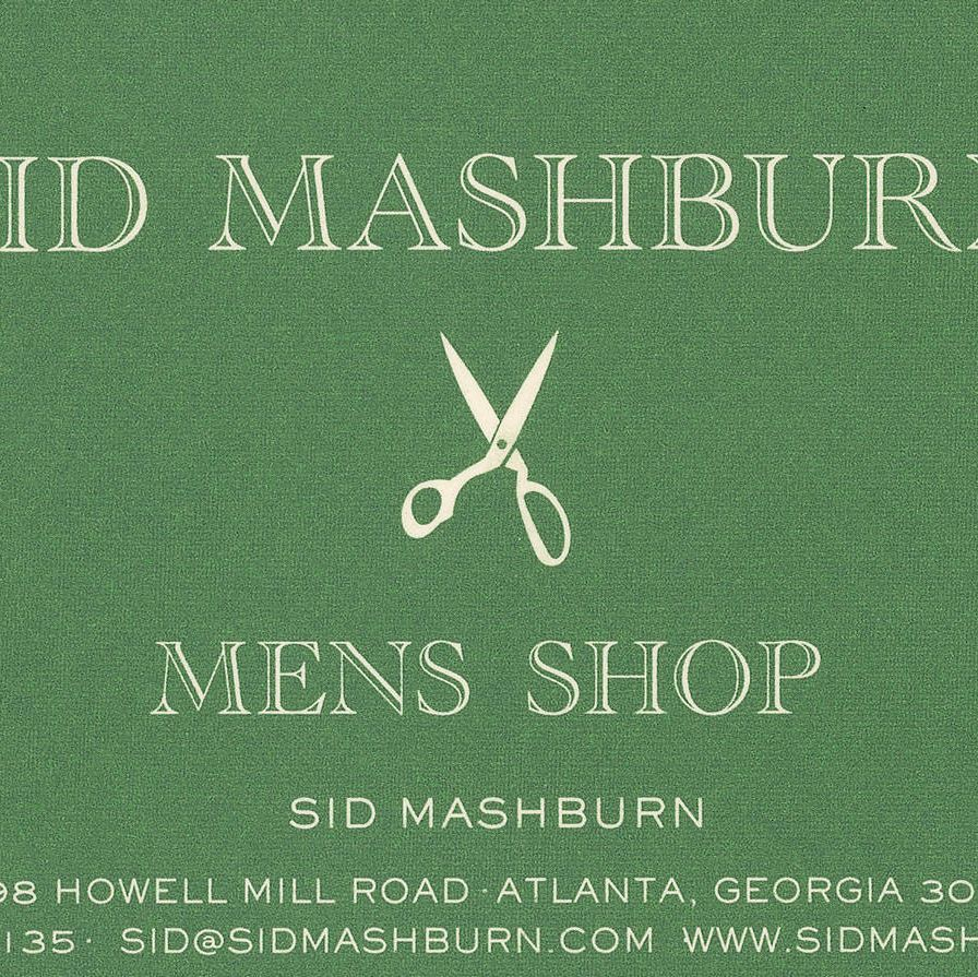 Sid Mashburn's business card.