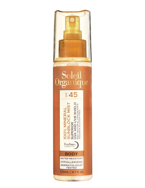 The Screen: Soleil Organique 100% Mineral Sunscreen Mist for Body SPF 45 ($42), soleilorganique.comThe Benefits: Titanium dioxide and zinc oxide mineral screens, SPF-boosting antioxidant red algae, and no synthetic fragrances, parabens, or sulfates.The Glamour: Can be found by islandhoppers at hotels like Parrot Cay in Turks & Caicos, Sandy Lane in Barbados, and the Four Seasons Nevis.