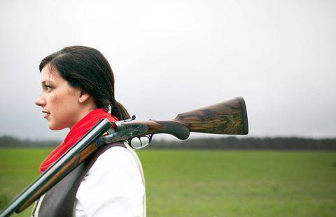Lesley Brannen Miller with a Beretta.