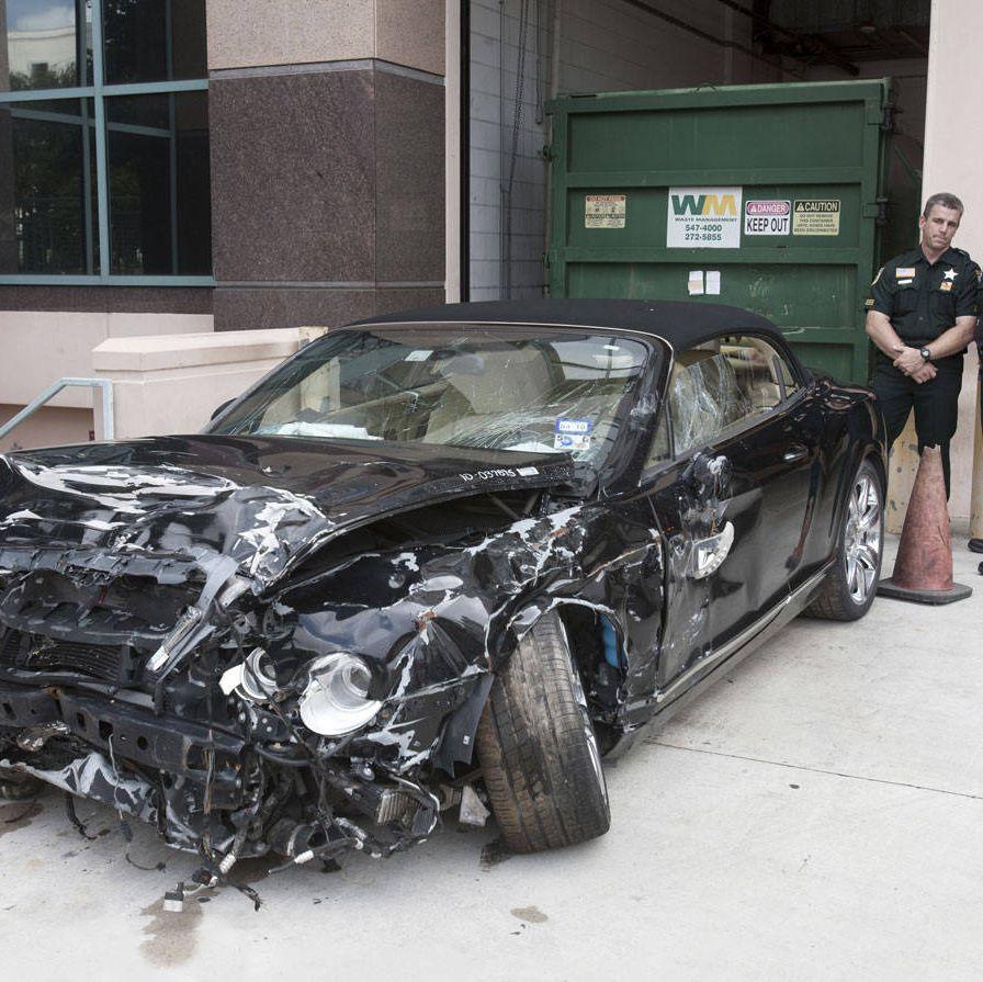 Goodman's 2007 Bentley GTC after the crash.