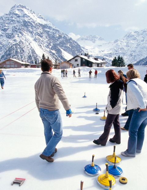 Curlers in Arosa, Switzerland.