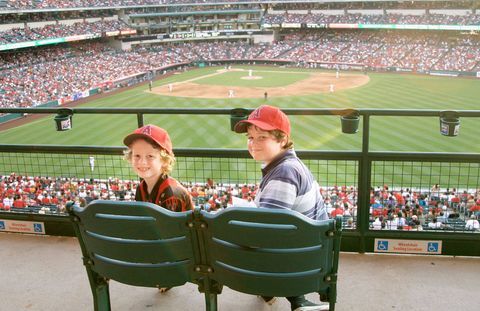 Eamon and Henry Hauser at Anaheim's Angel Stadium.