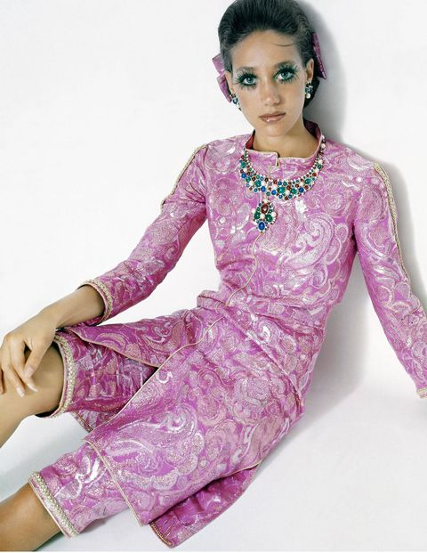 Men's bloomers evolved into Marisa Berenson's brocade style.