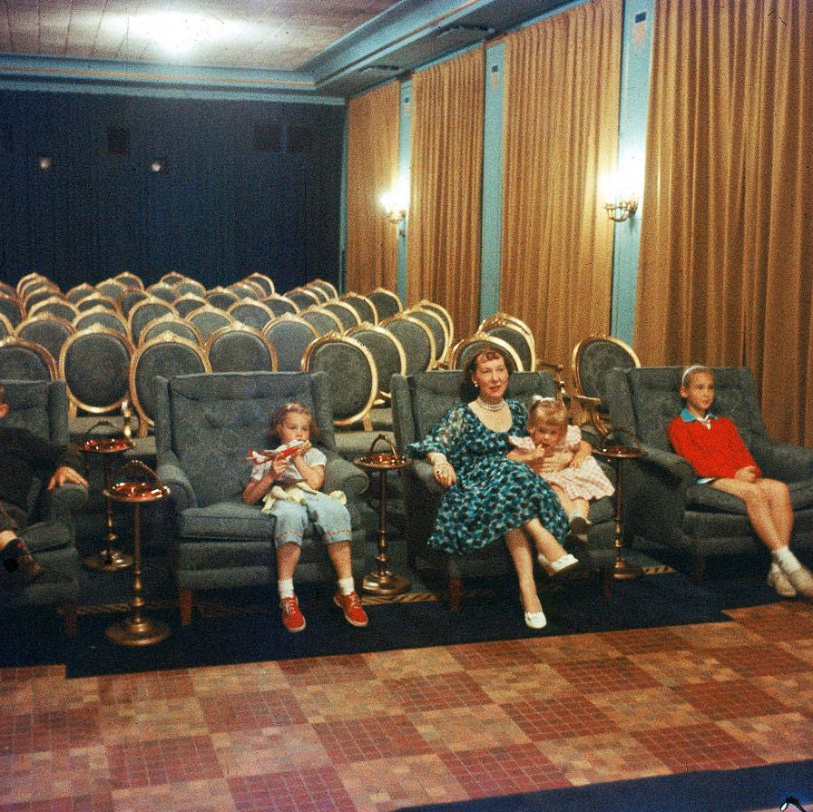 The Eisenhower family (here, Mamie with her four grandchildren) enjoys a quiet night watching Westerns.