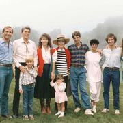 In August 1985 the family gathered at Rancho del Cielo.From left: Michael Reagan, Ronald Reagan with Cameron Reagan (Michael's son), Colleen Reagan (Michael's wife), Nancy Reagan, Ashley Marie Reagan (Michael's daughter), Ron Reagan, Doria Reagan (Ron's wife), Paul Grilley (Patti Davis's then-husband), and Patti Davis.