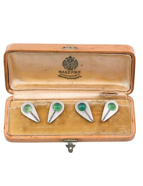 Fabergé chrysoprase cuff links from Wartski.