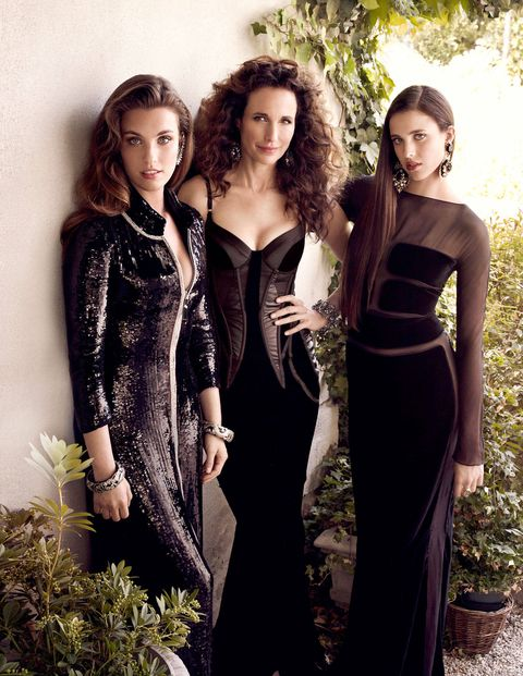 Andie MacDowell with her daughters Rainey and Margaret Qualley.