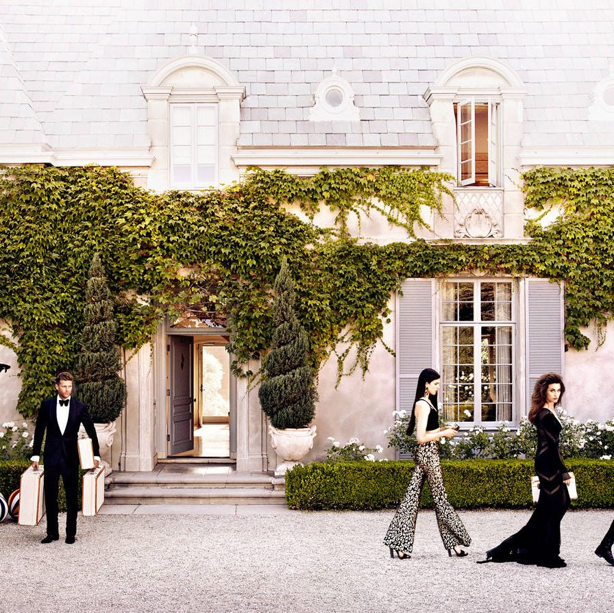 What do you need for a fairy tale? Start with a castle, a beauty or three, and inflatable waterfowl. From left: The butler, Andie MacDowell's daughters Margaret and Rainey Qualley, and MacDowell herself. On him, Tom Ford tuxedo ($4,790), evening shirt ($790), bow tie ($190), and shoes ($1,350). On Margaret, Wes Gordon pants ($925)&#x3B; Cushnie et Ochs bra top ($495)&#x3B; Gucci sandals ($795)&#x3B; Dolce & Gabbana earrings ($496). On Rainey, Pucci dress (price on request)&#x3B; Auden earrings ($398). On MacDowell, Tom Ford dress ($24,480)&#x3B; Gucci boots ($17,950)&#x3B; Patricia Underwood hat ($460).