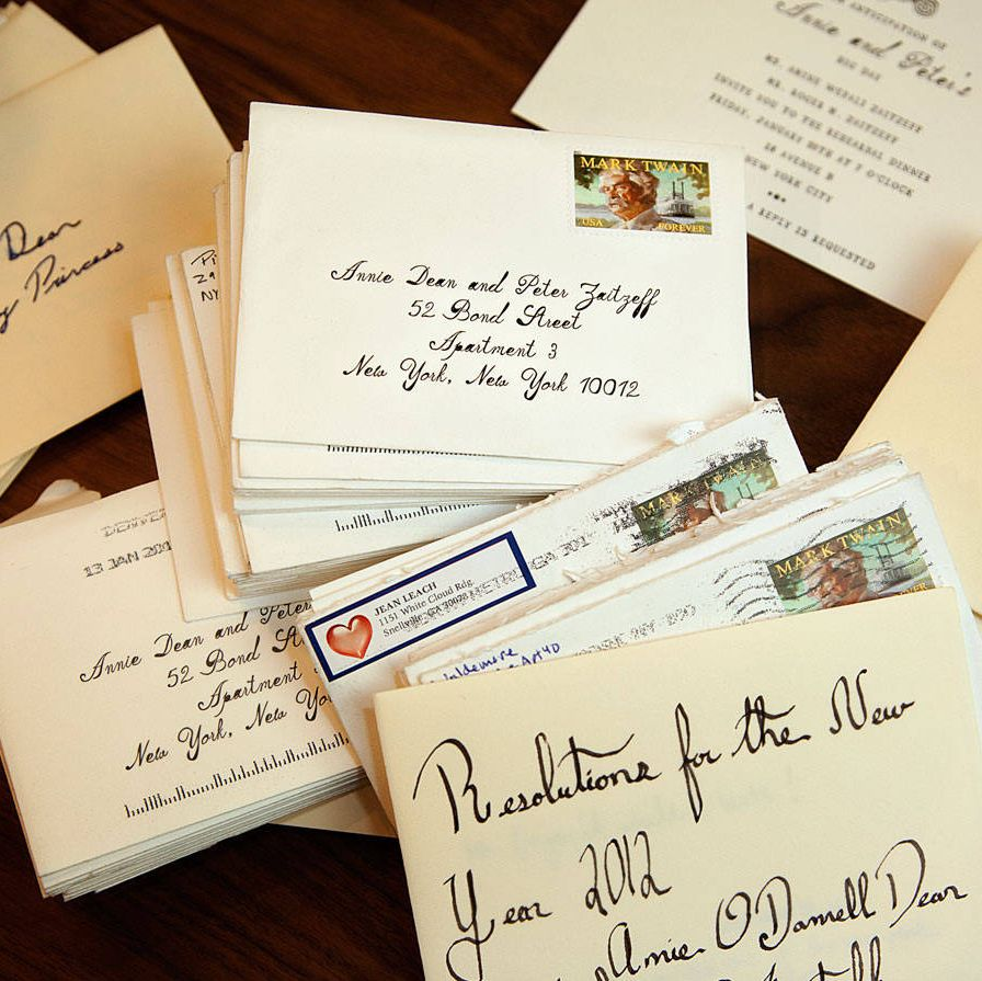 The couple's correspondence box, with RSVPs and love letters.