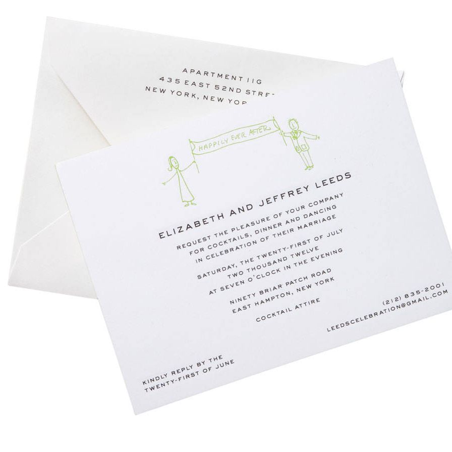 This whimsical invitation, based on love notes with stick-figure drawings that the couple had exchanged with each other, was created in lime-green ink by Thornwillow founder Luke Ives Pontifell.thornwillow.com