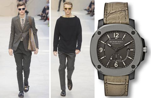 Burberry is synonymous with all-weather gear — particularly the trench coat — and the Britain, the first automatic timepiece produced by the brand, echoes that ruggedness. The power reserve model will run for as long as 40 hours without rewinding.$3,995, burberry.com