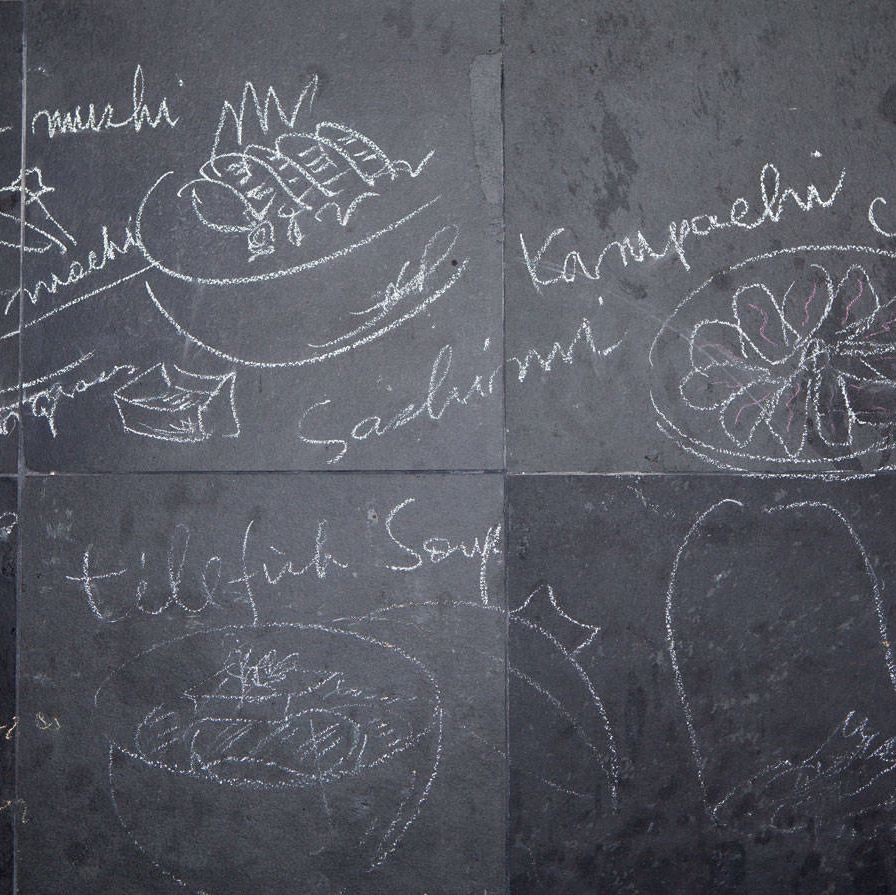 The chef details his presentations in hasty drawings in his test kitchen — seeming improvisations based on years of obsessive study of the health benefits of French and Japanese fare.
