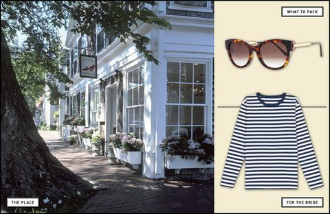 "<p><strong>The Place:</strong> Vanessa Noel Hotel, Nantucket <a href=""http://www.vanessanoelhotel.com/"" target=""_blank"">vanessanoelhotel.com</a></p> <p><strong>What to Pack:</strong> Thierry Lasry Perfidy sunglasses ($435), Fred Segal Eyes, 310-394-1875.</p> <p><strong>The Party:</strong> The bridal party can go to sea on a Nantucket Sound excursion with Endeavor Sailing (<a href=""http://endeavorsailing.com/"" target=""_blank"">endeavorsailing.com</a>). The more seasoned sailors can pitch in and help the crew. For the beach bums in the party, the best sunsets on the island can be seen from Madaket Beach.</p> <p><strong>The Weekend:</strong> The cozy Vanessa Noel Hotel (from $330) features Frette linens, Hermès bath products, and a Noel shoe shop — perfect after a day on the sand. On Sunday, walk to the Boarding House for a brunch of fried chicken and Belgian waffles (<a href=""http://www.boardinghousenantucket.com/"" target=""_blank"">boardinghousenantucket.com</a>).</p> <p><strong>For the Bride:</strong> Agnès b. T-Shirt Cool ($165), <a href=""http://www.agnesb.com/"" target=""_blank"">agnesb.com</a></p>"
