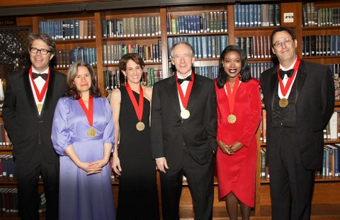 <p>The 2011 Library Lions. <em>From left</em>: Jonathan Franzen, Natalie Merchant, Stacy Schiff, Ian McEwan, Isabel Wilkerson, and Tony Kushner.</p>