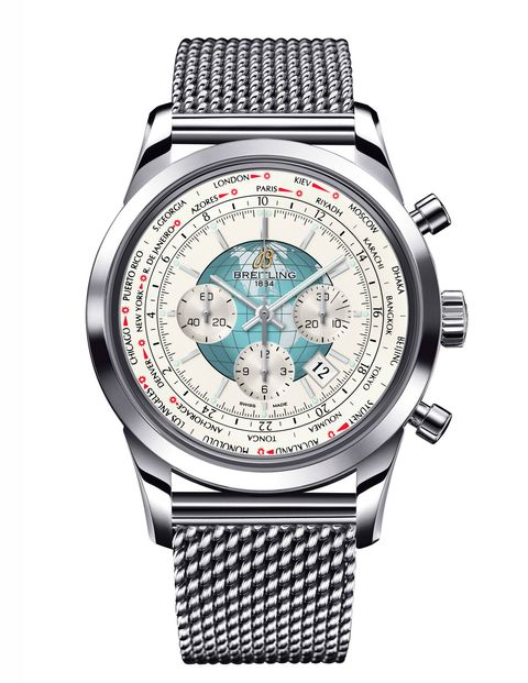 Today brings us Breitling's World Timer. The Breitling booth at Baselworld is an ode to travel and adventure. This watch would keep track of it all.$11,200, Breitling.