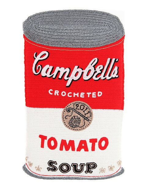 "Kate Jenkins runs a knitwear company, Cardigan, in her native Wales, but continues to create whimsical yarn-based food products, like knitted tinned sardines, vinegar, fish and chips. Here, in ""Campbell's Crocheted Tomato Soup,"" she treats Warhol with a properly Warholian sense of disrespect. ($4000, at the Rebecca Hossack booth.)"