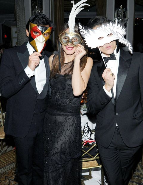 Instead of paper faces on parade, the Save Venice Masquerade Ball brought out Lanvin-clad pretty young things hiding behind all sorts of elaborate masks—Michelle Harper came with a butterfly delicately fixed atop her head and stylist Kelly Framel moved across the Pierre's dance floor with cat-like grace in a lion mask. There were plenty of elaborately dressed attendees at the event, a black-and-white-themed Ballo in Maschera sponsored by Ferrari, Harry Winston, and Lanvin to support restoration of Venetian art and architecture. Some of them mingled freely as the jazz pianist Elew performed; others, who were in fact Lanvin mannequins dressed in the latest collection, maintained their composure no matter what music played.