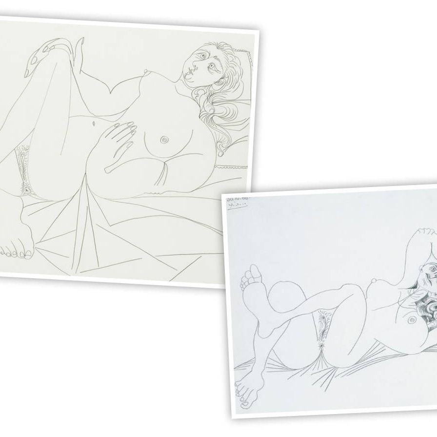 Picasso drew these two sketches on successive days, in 1968, at the age of 87 (although, to be fair his birthday was only five days earlier, so he'd only just turned 87). Despite his advanced years, the works reveal a teenager's obsession with anatomical detail, and an unusual reversal of the normal process, since he proceeded from an abstract version of the nu couché toward a more realistic rendering in his second go. Perhaps he was worried about his costume for the evening—he finished the second drawing on Halloween!Christie's Impressionist and Modern Art, Day Sale, May 9.Lot 128&#x3B; $200,000-$300,000Lot 161&#x3B; $300,000-$500,000.